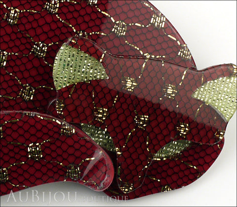 Lea Stein Gomina The Sleeping Cat Brooch Pin Burgundy Gold Mesh Gallery