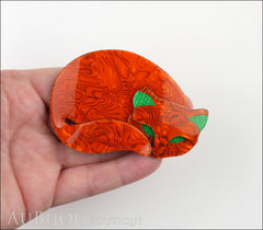Lea Stein Gomina The Sleeping Cat Brooch Pin Orange Green Model
