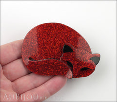 Lea Stein Gomina The Sleeping Cat Brooch Pin Red Black Model