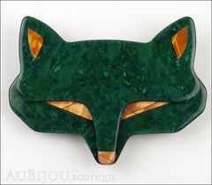 Lea Stein Goupil Fox Head Brooch Pin Dark Green Peach Front