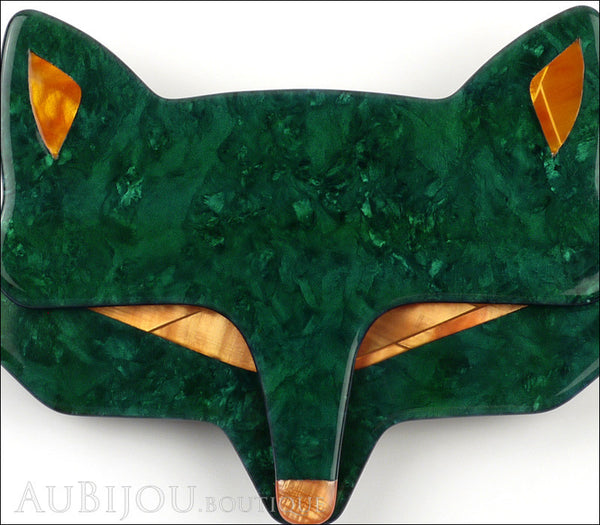Lea Stein Goupil Fox Head Brooch Pin Dark Green Peach Gallery