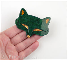 Lea Stein Goupil Fox Head Brooch Pin Dark Green Peach Model