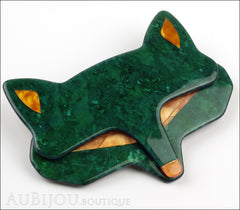 Lea Stein Goupil Fox Head Brooch Pin Dark Green Peach Side