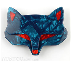 Lea Stein Goupil Fox Head Brooch Pin Pearly Blue Red Front