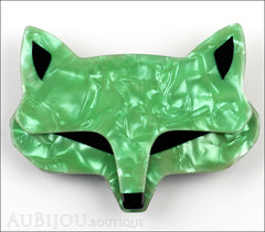 Lea Stein Goupil Fox Head Brooch Pin Pearly Green Black Front