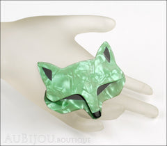 Lea Stein Goupil Fox Head Brooch Pin Pearly Green Black Mannequin