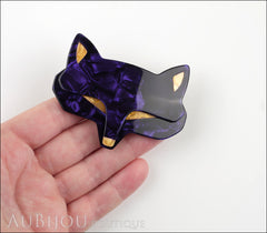 Lea Stein Goupil Fox Head Brooch Pin Pearly Violet Yellow Model