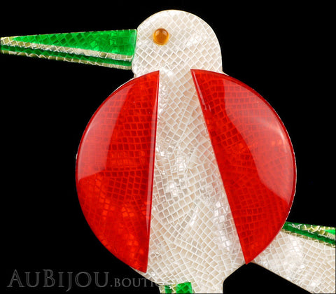 Lea Stein Great Beak Bird Brooch Pin Red White Green Gallery