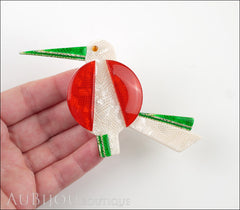 Lea Stein Great Beak Bird Brooch Pin Red White Green Model