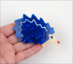 Lea Stein Hedgehog Porcupine Brooch Pin Blue Pearly Cream Model