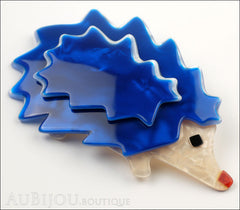 Lea Stein Hedgehog Porcupine Brooch Pin Blue Pearly Cream Side