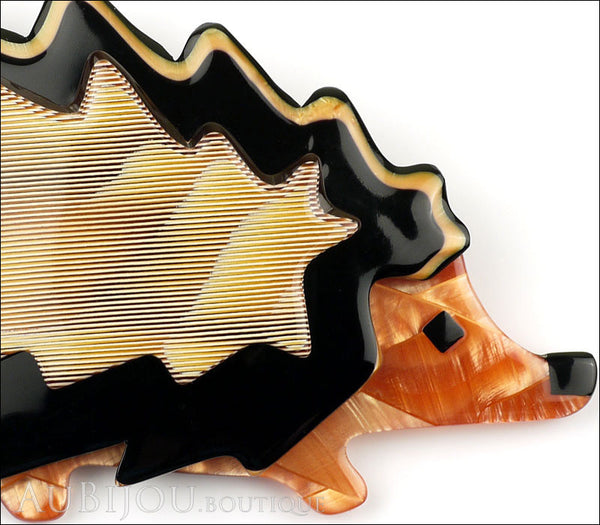 Lea Stein Hedgehog Porcupine Brooch Pin Caramel Black Peach Gallery