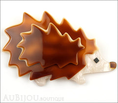 Lea Stein Hedgehog Porcupine Brooch Pin Caramel Pearly Cream Front
