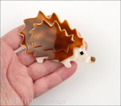 Lea Stein Hedgehog Porcupine Brooch Pin Caramel Pearly Cream Model