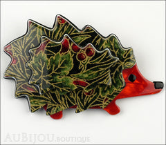 Lea Stein Hedgehog Porcupine Brooch Pin Floral Green Red Front