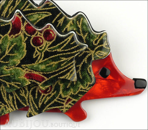 Lea Stein Hedgehog Porcupine Brooch Pin Floral Green Red Gallery
