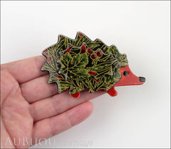 Lea Stein Hedgehog Porcupine Brooch Pin Floral Green Red Model