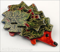 Lea Stein Hedgehog Porcupine Brooch Pin Floral Green Red Side