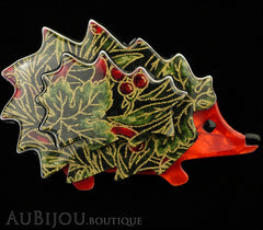 Lea Stein Hedgehog Porcupine Brooch Pin Floral Green Red