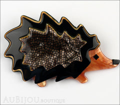 Lea Stein Hedgehog Porcupine Brooch Pin Grey Black Peach Front