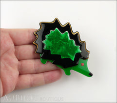 Lea Stein Hedgehog Porcupine Brooch Pin Pearly Green Black Model