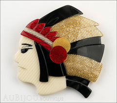 Lea Stein Indian Chief Head Brooch Pin Black Grey Gold Red Front