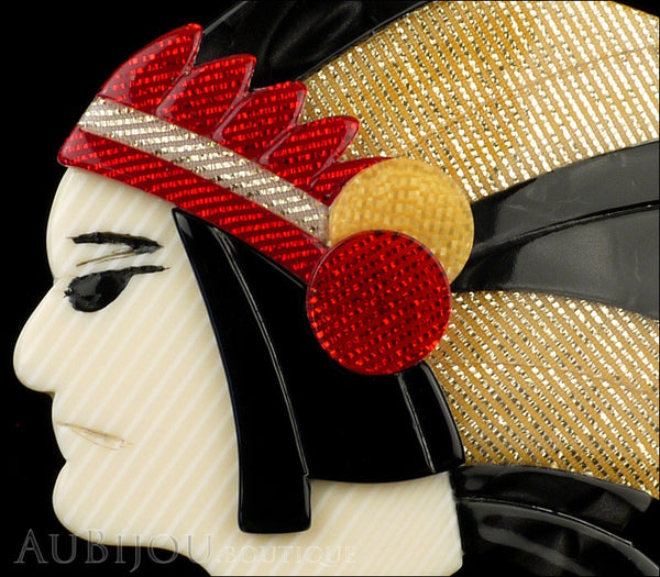 Lea Stein Indian Chief Head Brooch Pin Black Grey Gold Red Gallery