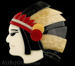 Lea Stein Indian Chief Head Brooch Pin Black Grey Gold Red