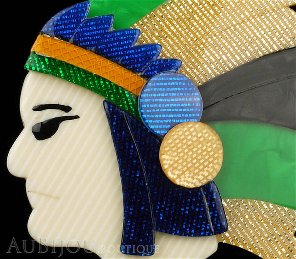 Lea Stein Indian Chief Head Brooch Pin Green Gold Black Blue Gallery