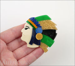 Lea Stein Indian Chief Head Brooch Pin Green Gold Black Blue Model