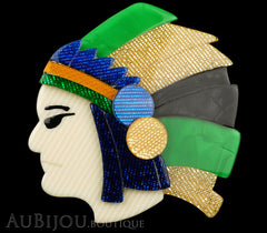 Lea Stein Indian Chief Head Brooch Pin Green Gold Black Blue