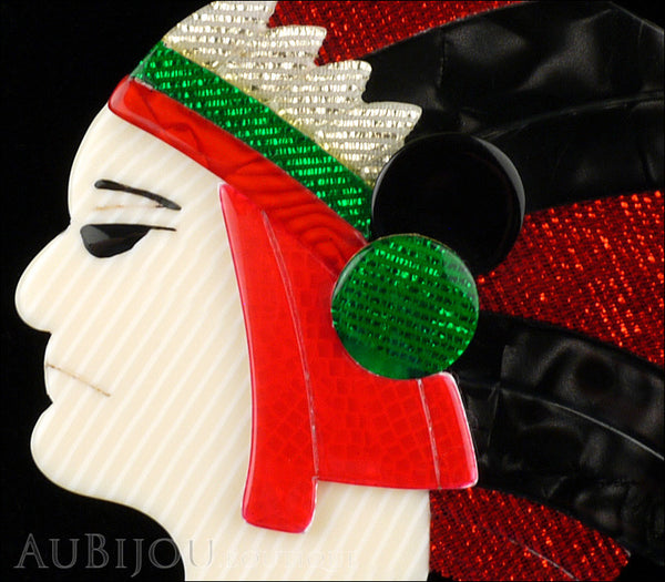 Lea stein indian chief head brooch pin red black green for Lea boutique