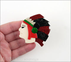 Lea Stein Indian Chief Head Brooch Pin Red Black Green Gold Model