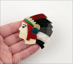 Lea Stein Indian Chief Head Brooch Pin Red Black Grey White Model