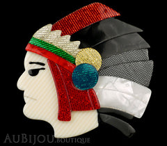 Lea Stein Indian Chief Head Brooch Pin Red Black Grey White