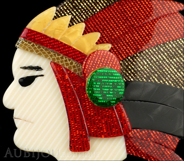 Lea Stein Indian Chief Head Brooch Pin Red Gold Black Green Gallery