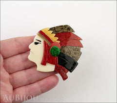 Lea Stein Indian Chief Head Brooch Pin Red Gold Black Green Model