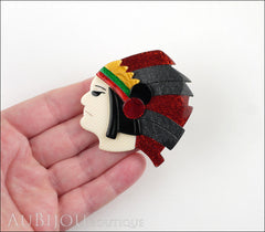 Lea Stein Indian Chief Head Brooch Pin Red Grey Black Green Model