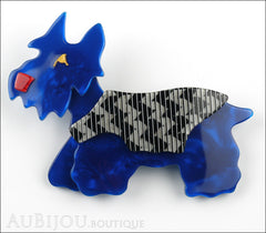 Lea Stein Kimdoo Dog Scottish Terrier Brooch Pin Blue Grey ZigZag Front