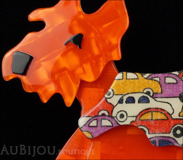 Lea Stein Kimdoo Dog Scottish Terrier Brooch Pin Bright Orange Cars