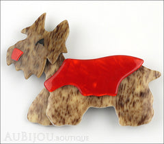 Lea Stein Kimdoo Dog Scottish Terrier Brooch Pin Chestnut Red Front