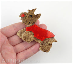 Lea Stein Kimdoo Dog Scottish Terrier Brooch Pin Chestnut Red Model