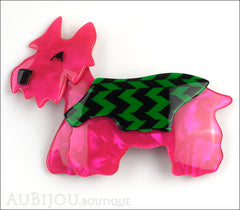 Lea Stein Kimdoo Dog Scottish Terrier Brooch Pin Fuchsia Green Black Front