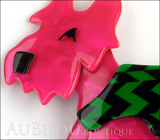Lea Stein Kimdoo Dog Scottish Terrier Brooch Pin Fuchsia Green Black Gallery