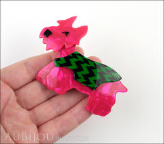 Lea Stein Kimdoo Dog Scottish Terrier Brooch Pin Fuchsia Green Black Model
