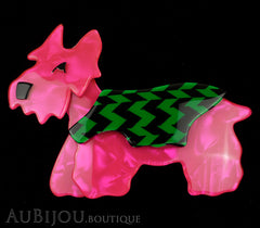 Lea Stein Kimdoo Dog Scottish Terrier Brooch Pin Fuchsia Green Black