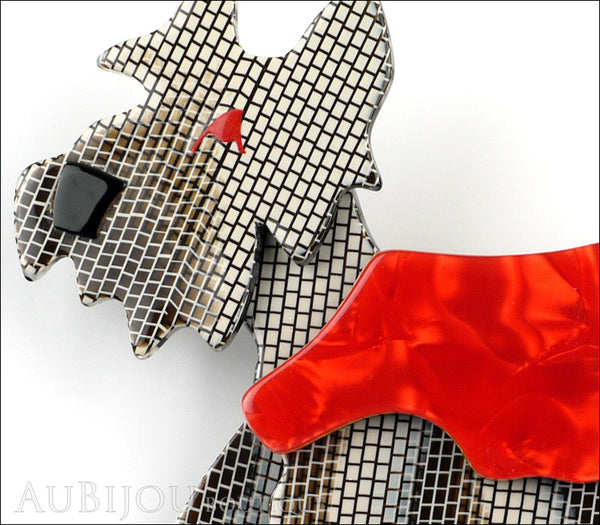Lea Stein Kimdoo Dog Scottish Terrier Brooch Pin Grey Mesh Red Gallery