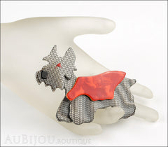 Lea Stein Kimdoo Dog Scottish Terrier Brooch Pin Grey Mesh Red Mannequin