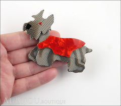 Lea Stein Kimdoo Dog Scottish Terrier Brooch Pin Grey Mesh Red Model