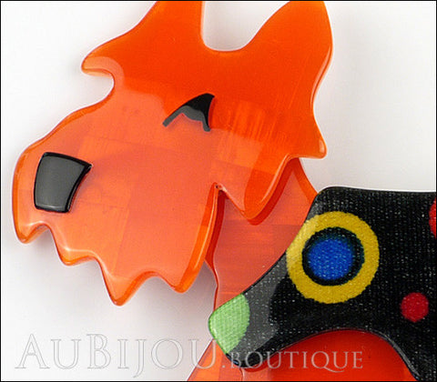 Lea Stein Kimdoo Dog Scottish Terrier Brooch Pin Orange Multi Gallery